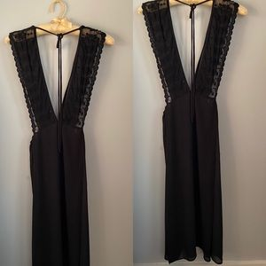 the moon Dresses - Sultry Lace & Silky Deep V Dress with High Slits